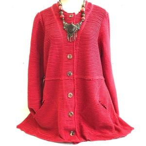 CMC Cotton Rib Raw Edge Lagenlook Tunic Jacket